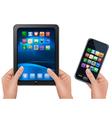 Hands holding digital tablet computer vector