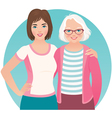 Adult daughter and elderly mother vector