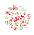 Christmas card with postage stamps vector