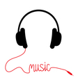 Black headphones with red cord word music vector