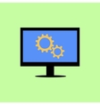 Flat style computer with gear wheels vector