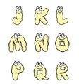 Set of cartoon letters from j to r vector