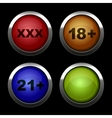 Xxx buttons icons set red orange blue and green vector