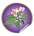 Apple flower sticker violet vector