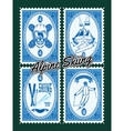 Set of stamps with winter extreme sports vector