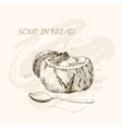 Soup in bread vector