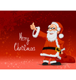 Santa carrying bag on red background vector