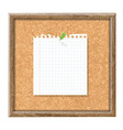 Cork board with blank note paper and green pin vector