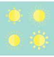 Sun set in flat design style blue background vector