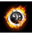 Loudspeaker on fire isolated vector