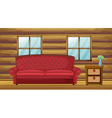 Red sofa and side table vector
