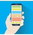 Smartphone in hand flat design vector