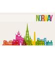 Travel norway destination landmarks skyline vector
