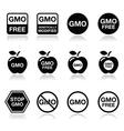 Gmo food no gmo or gmo free icons set vector