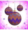 Three knitted christmas balls vector