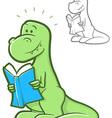 Reading dinosaur vector