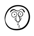 Funny cartoon face black and white lines vector