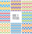 Waves seamless patterns set colorful geometric vector
