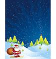 Christmas card with santa claus vector