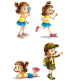 Different activities of a young girl vector