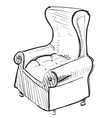 Old leather armchair vector
