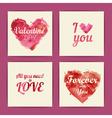 Set of watercolor valentine invitation cards vector