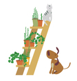 Cat and dog and garden flowers vector