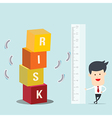 Business man use ruler measure risk block vector