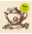 Tea vintage background hand drawn sketch vector