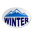 Winter mountain oval sticker vector
