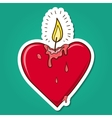 Heart shaped burning candle vector