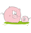 Funny pig mother and child vector