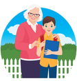 Elderly woman with her grandson schoolboy vector
