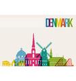 Travel denmark destination landmarks skyline vector