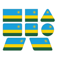 Buttons with flag of rwanda vector