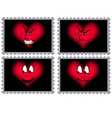 Stamps with hearts and faces vector