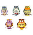 Color cartoon owls set in doodle style vector