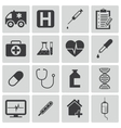 Black medical icons set vector