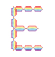 Letter e made in rainbow colors vector