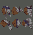 Set of red indian heads vector