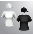 Women t-shirt baseball cap vector