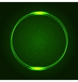 Green glowing rings on dark dotted abstract vector
