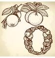 Orange branch litera o vector