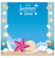 Summer beach with sea shell and starfish frame vector