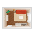 Room with furniture top view vector