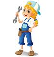 A girl holding a tool vector