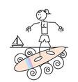 Stick figure surfing vector