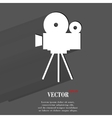 Videocamera flat modern web button with long vector