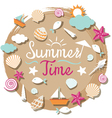 Sea shell and summer objects icons heading vector