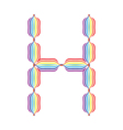 Letter h made in rainbow colors vector